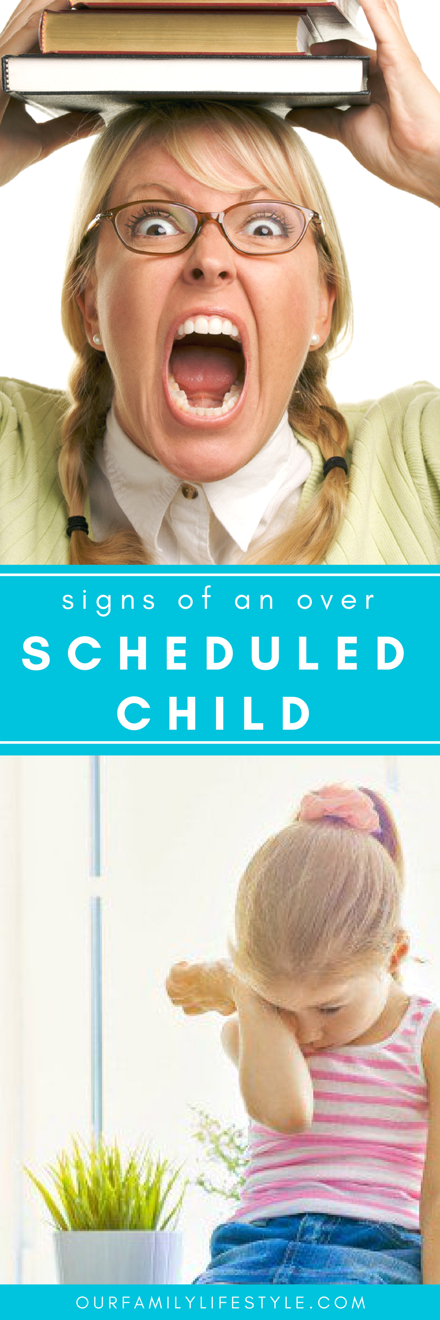 Signs of an over scheduled child can include: irritability, negative, involved in harmful behaviors like hair pulling, cutting or abusing drugs and alcohol.