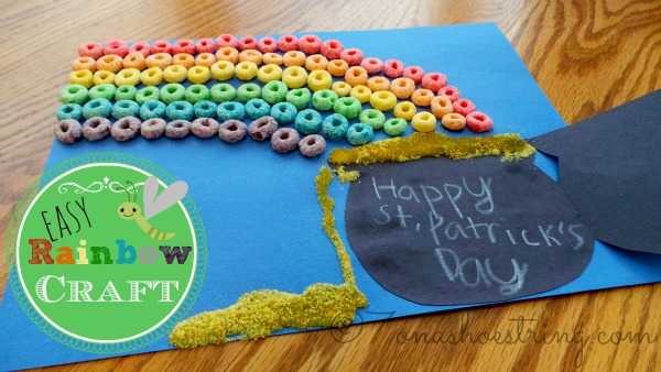 Easy Froot Loops Rainbow Craft for Kids for St. Patrick's Day