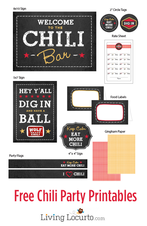 Free Chili Bar Printables