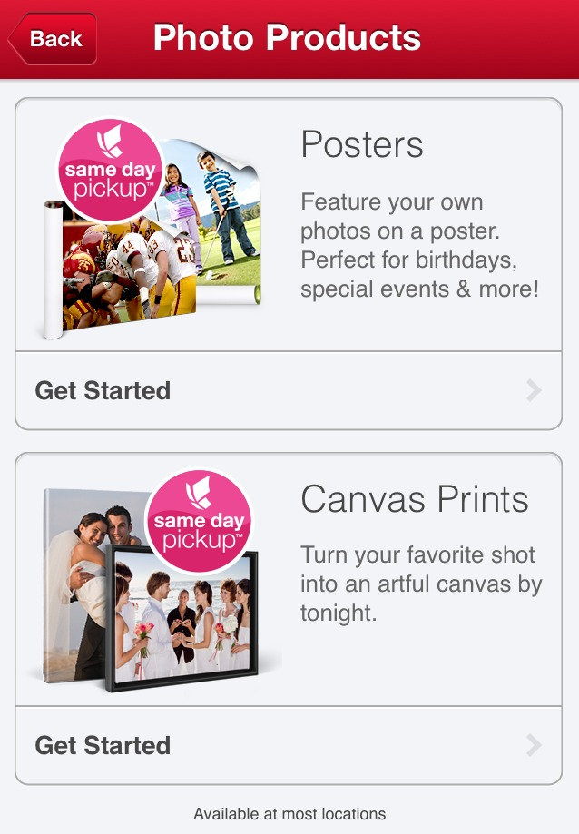A Wide Selection of Products. Walmart's Photo Center has a wide selection of 15 products which can all have favorite photos, text or messages, logos, names, slogans, and taglines in a plethora of designs, shapes, patterns, and sizes.