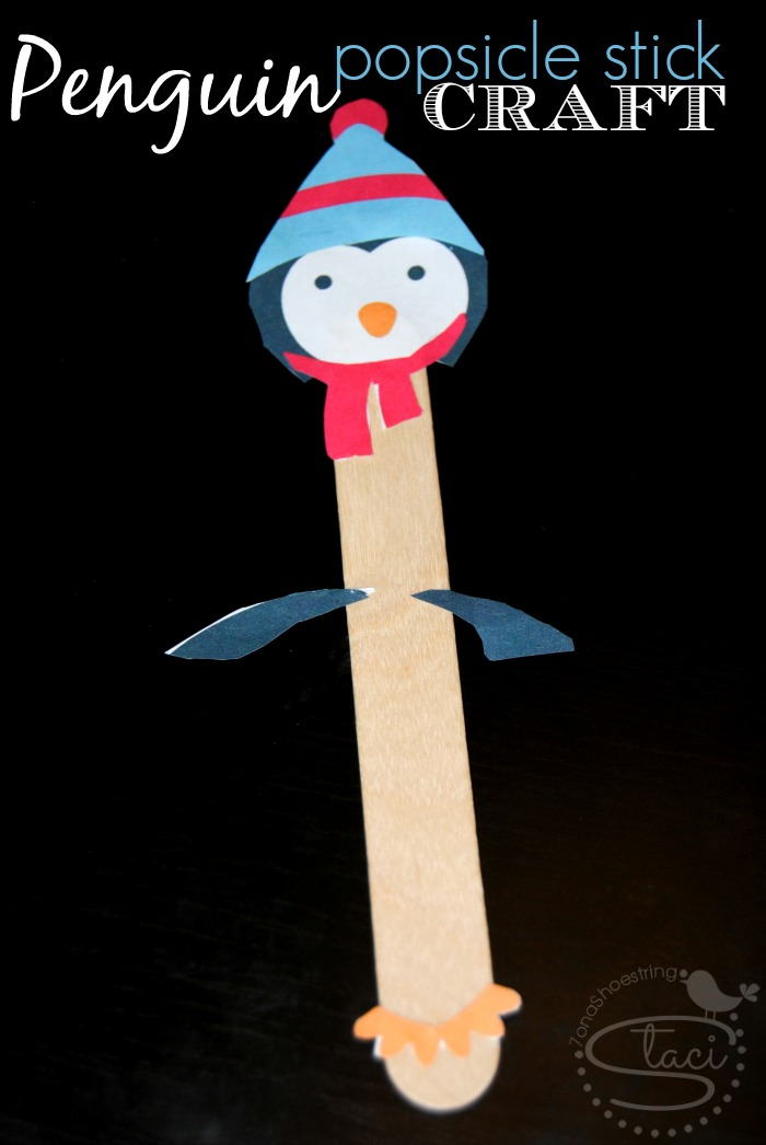penguin popsicle stick craft for kids