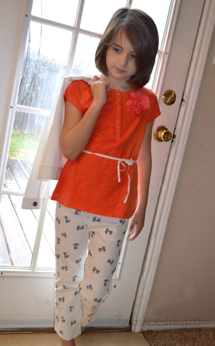 orange blouse with capris