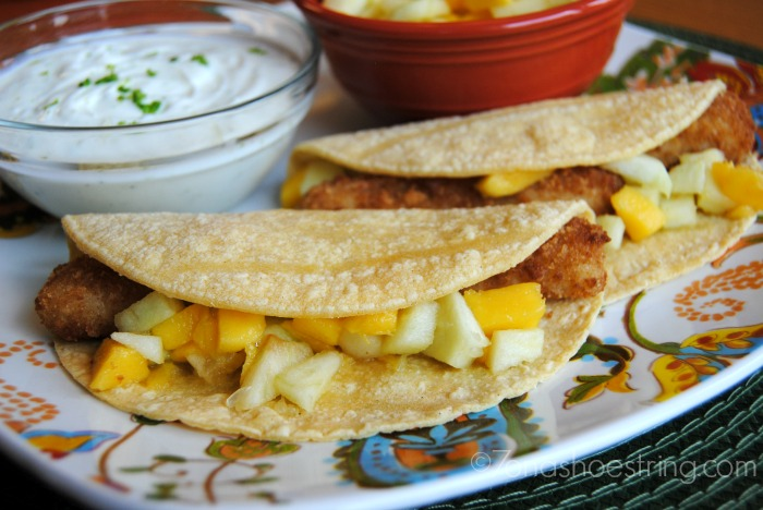 Fish Tacos with Mango Salsa and Lime Cream