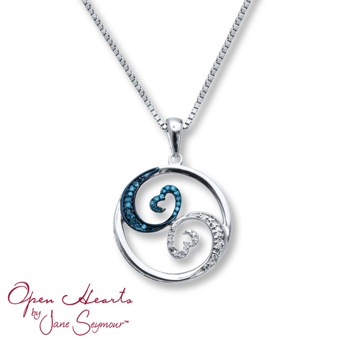 open hearts waves collection blue and white diamond necklace. Black Bedroom Furniture Sets. Home Design Ideas