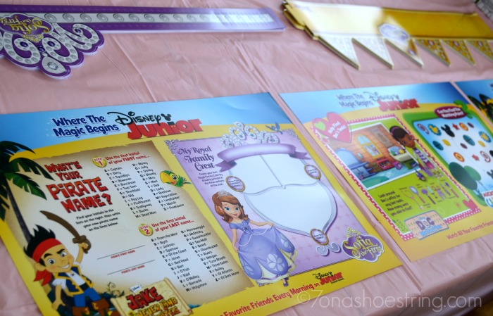 Disney Junior party placemats