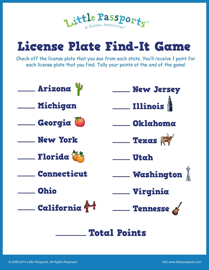 License Plate Find-It Game