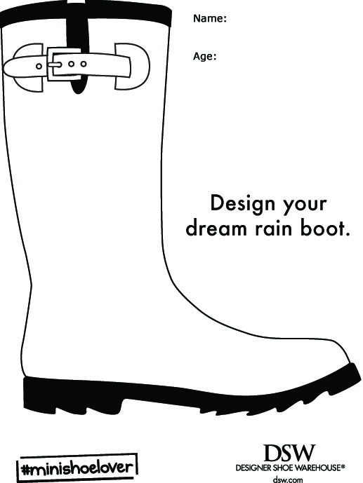 #MiniShoeLover Rain Boot Coloring Page