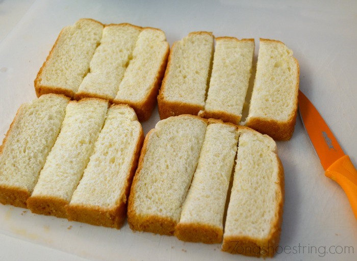 cut bread into cubes for French Toast