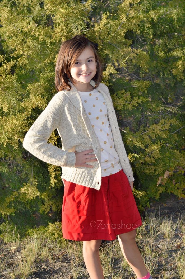 red taffeta skirt with gold glitter top