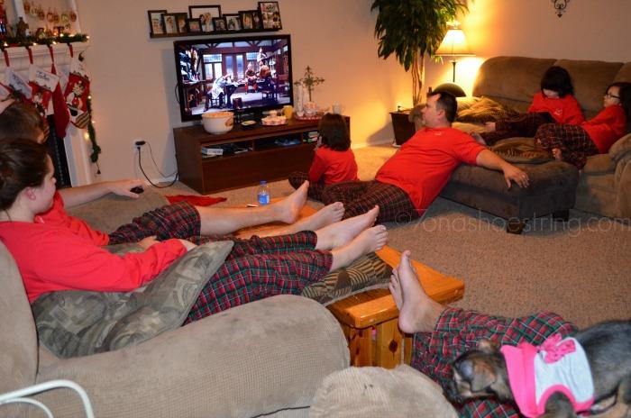 family holiday pajama party