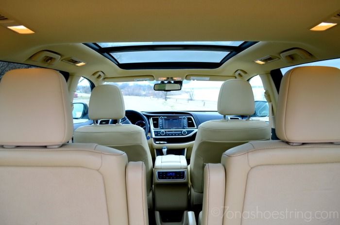 interior of 2015 Highlander with panoramic moonroof