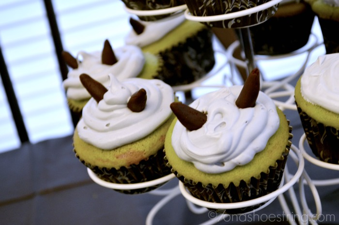 Maleficent horn cupcakes