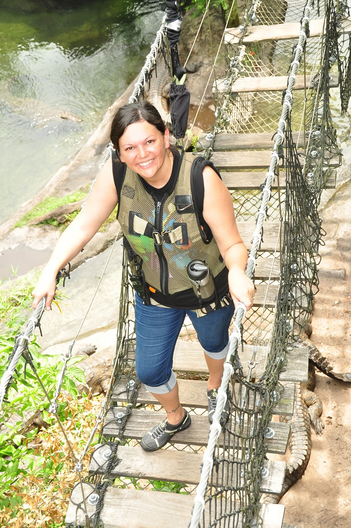 Wild Africa Trek rope bridge over crocodiles