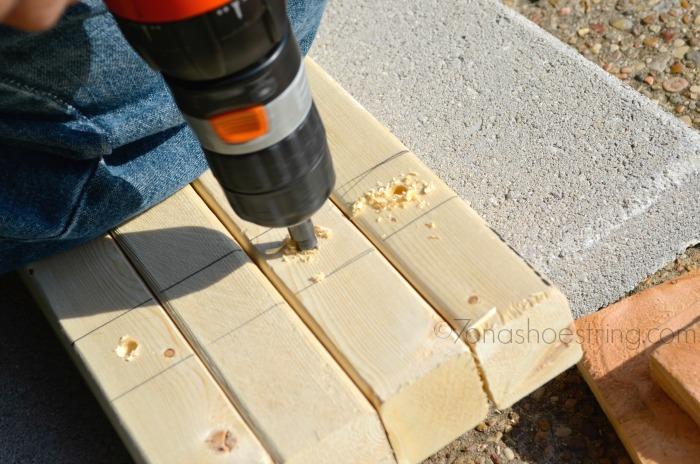 pre-drill holes for screws DIY planter