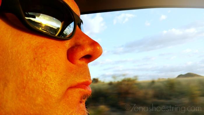 driving in Arizona sun