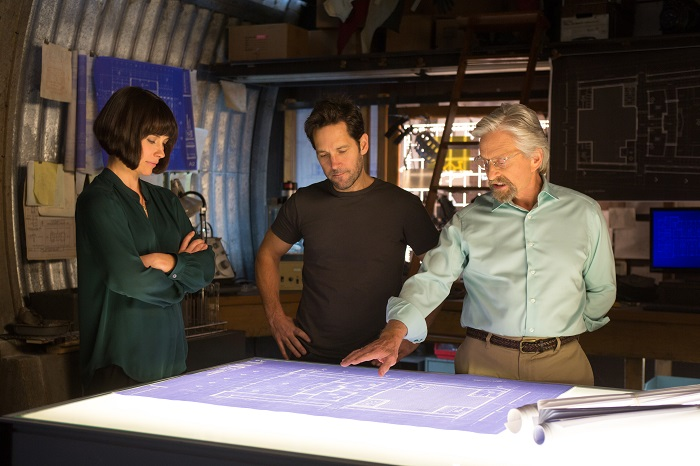 Marvel Ant-Man Paul Rudd, Evangeline Lilly, and Michael Douglas