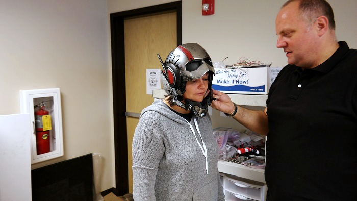 Staci in Marvel Ant-Man helmet
