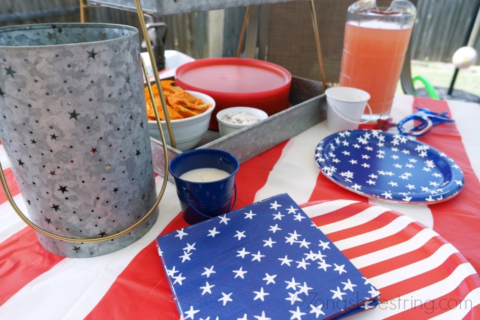 red white blue tableware