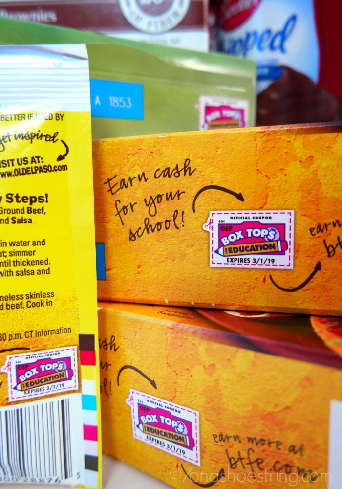 Box Tops for Education clips on boxes