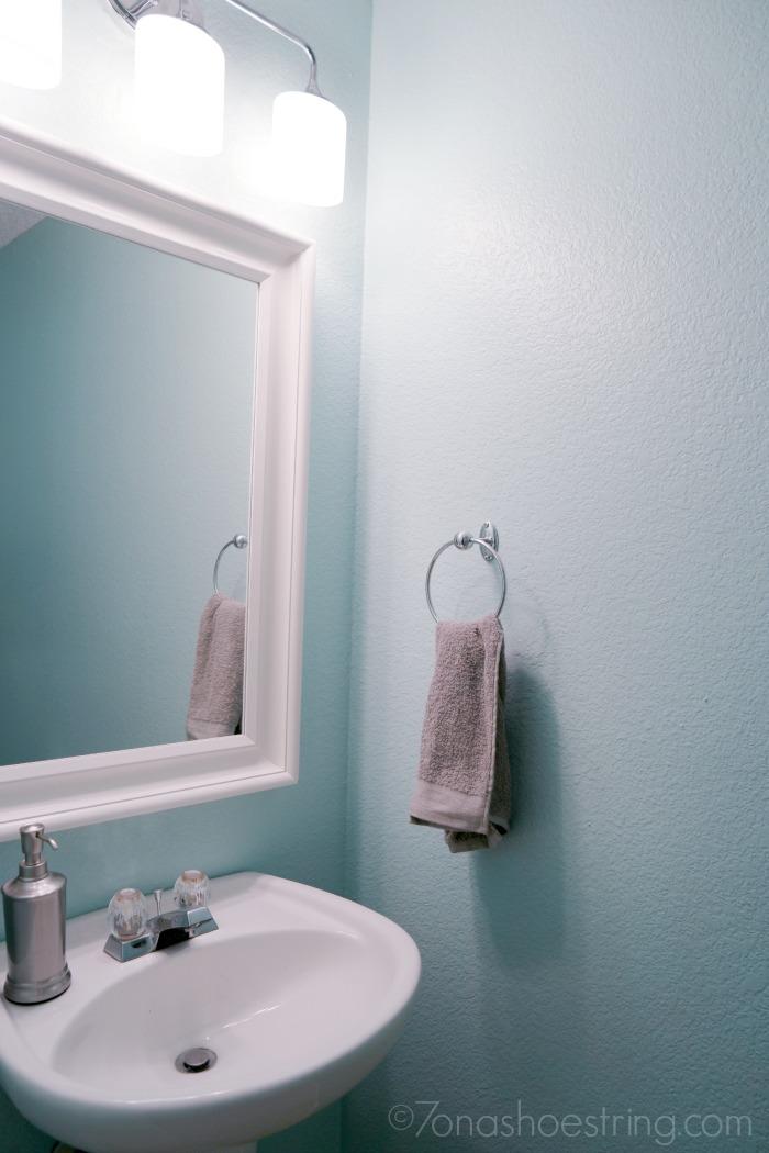 DIY powder bathroom makeover new mirror