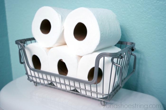 powder room makeover toilet paper basket