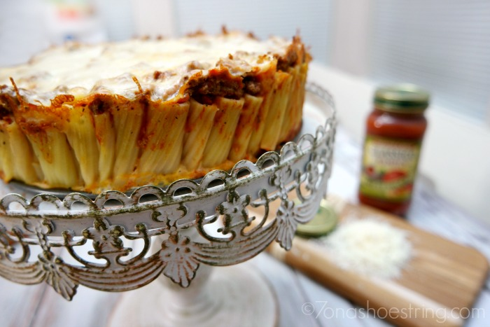 Baked Rigatoni Pasta Pie with Classico Red Sauces + Pasta in a Jar with reCAP