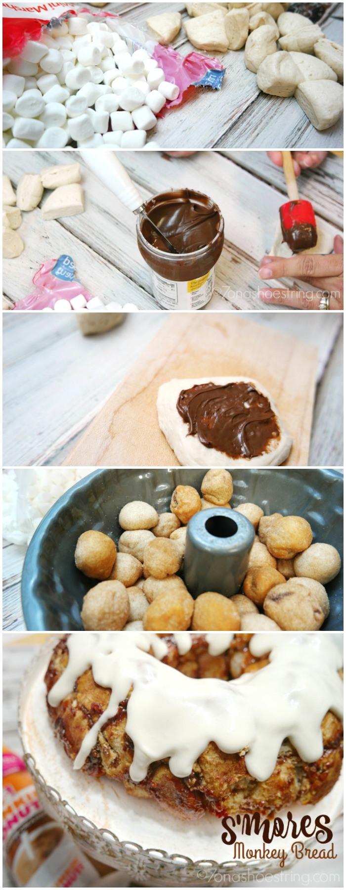 S'mores Monkey Bread with Nutella and marshmallows - 7onashoestring