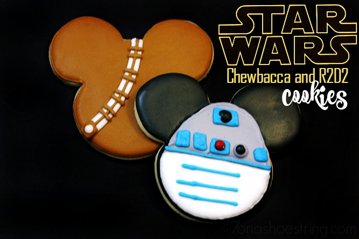Star Wars Mickey Chewbacca and R2D2 cookies