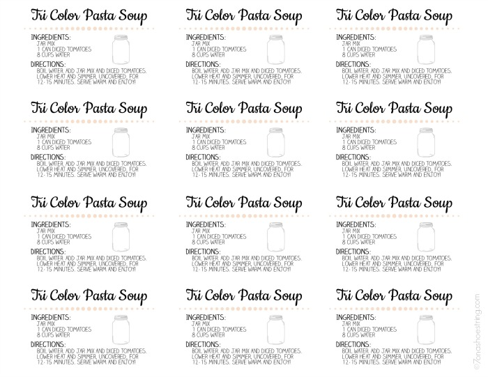 Tri Color Pasta Soup labels