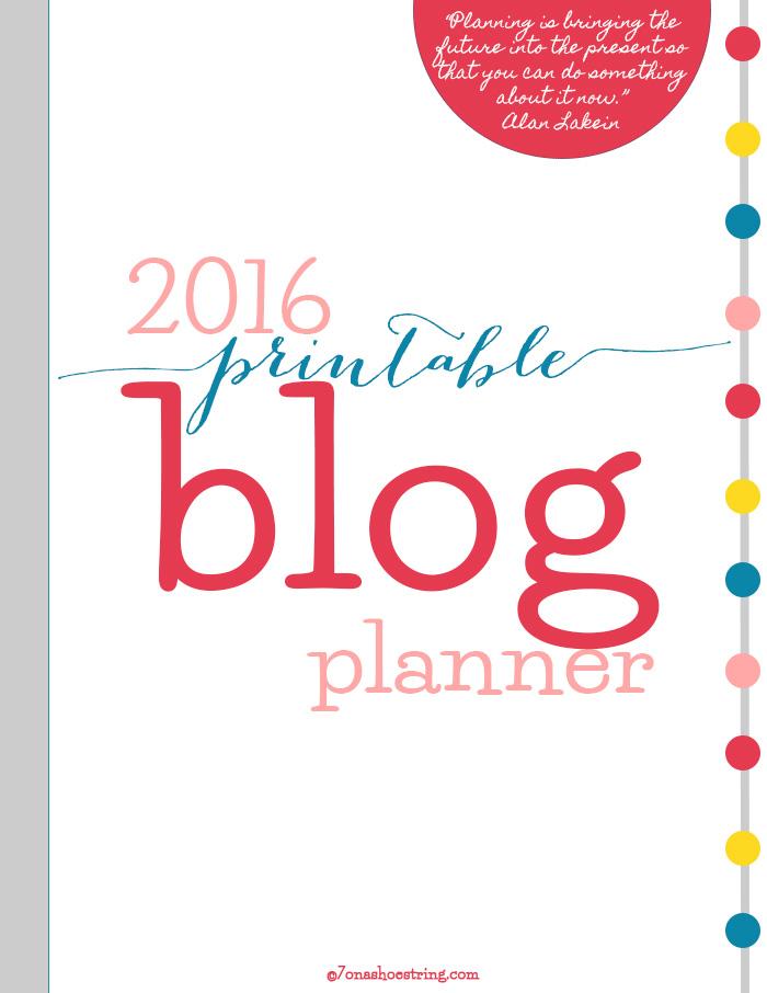 2016 Printable Blog Planner
