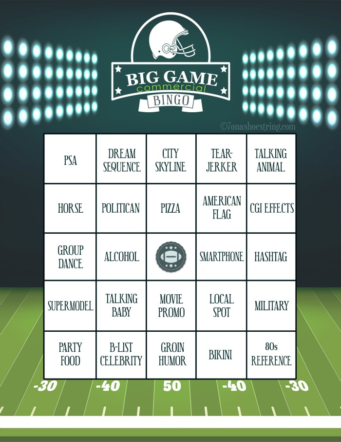 Big Game Commercial Bingo Printable Card
