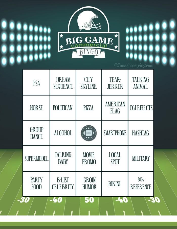 Big Game Commercial Bingo Printable Card