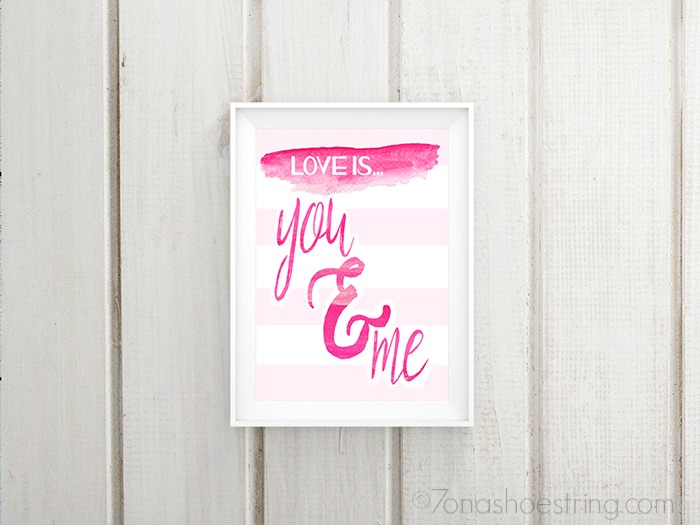 Love is You and Me printable poster