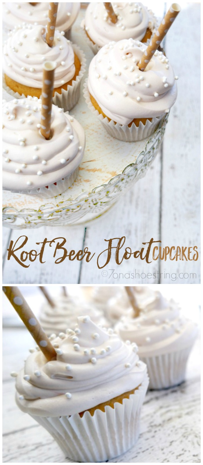 Root Beer Float Cupcakes collage