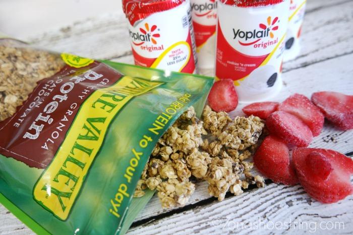 Frozen Yogurt Bark with granola and strawberries