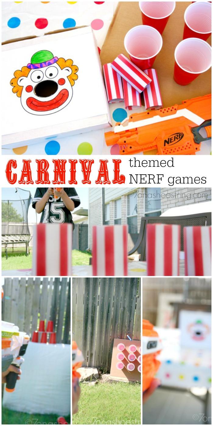 Carnival Themed backyard NERF games
