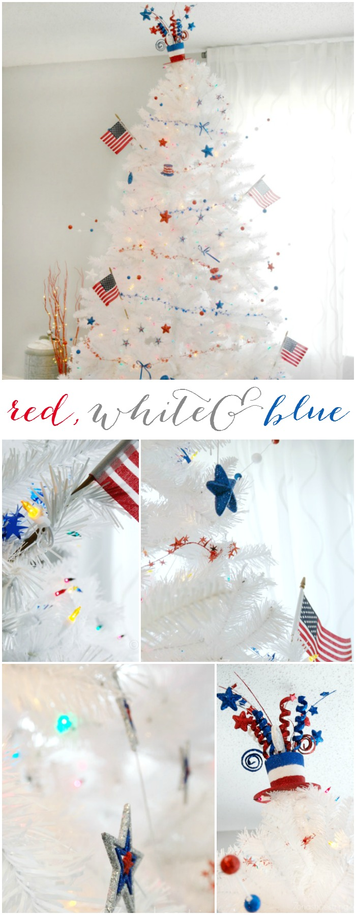 Red White & Blue Patriotic Christmas Tree