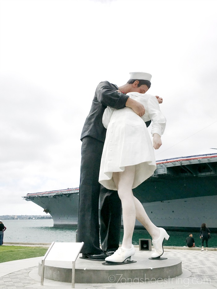 statue at USS Midway in San Diego