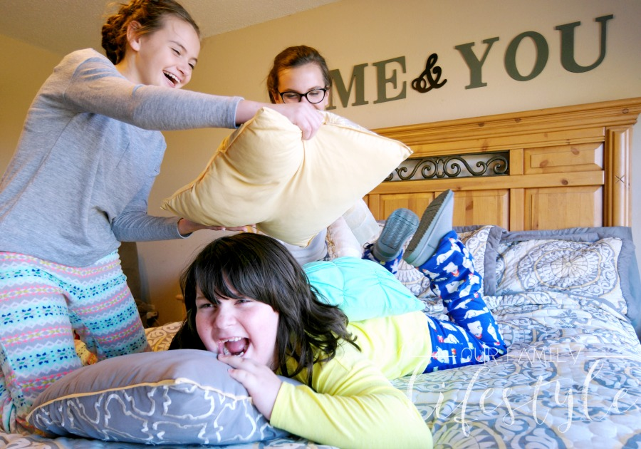 pillow fight in pajamas
