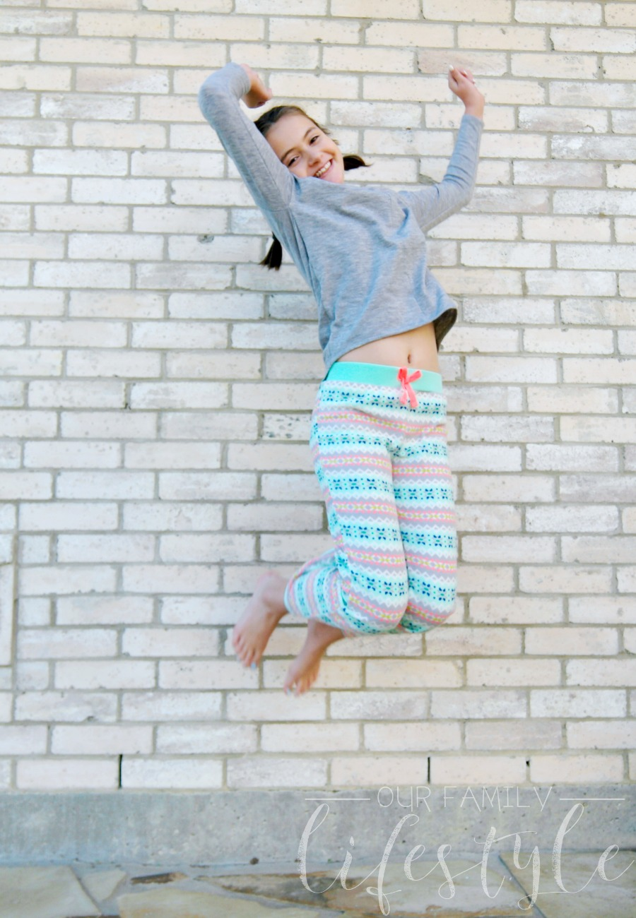 jumping for joy in pajamas