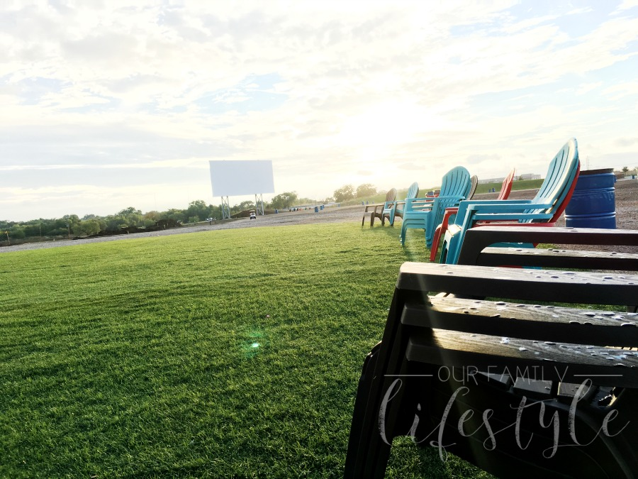 lawn chairs at Coyote drive-in-theater