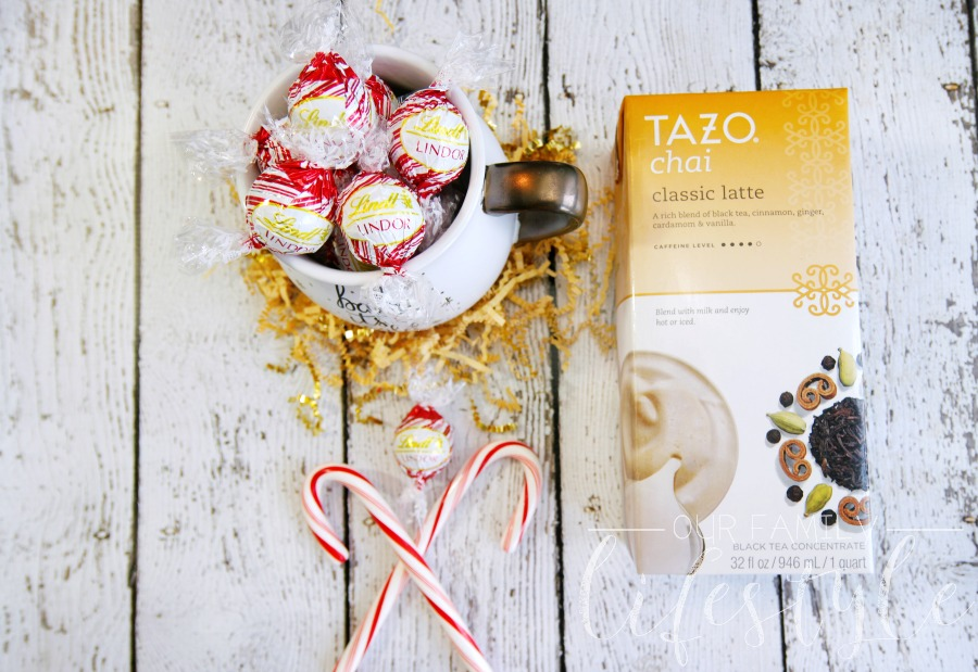 Tazo Chai Classic Latte and Lindt LINDOR Peppermint White Chocolate Truffles