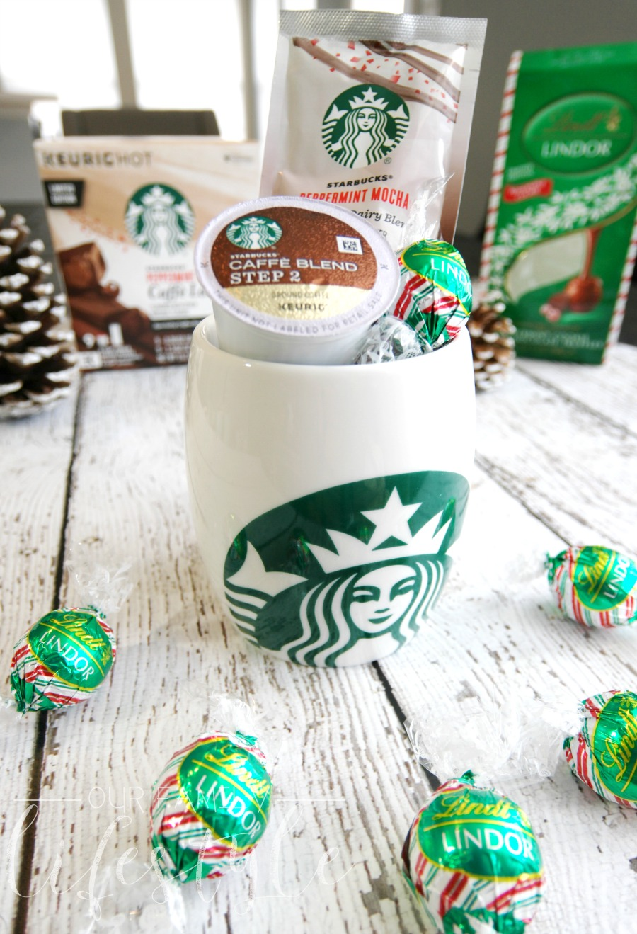 Starbucks Peppermint Mocha Caffe Latte and Lindt LINDOR Peppermint Cookie Milk Chocolate Truffles