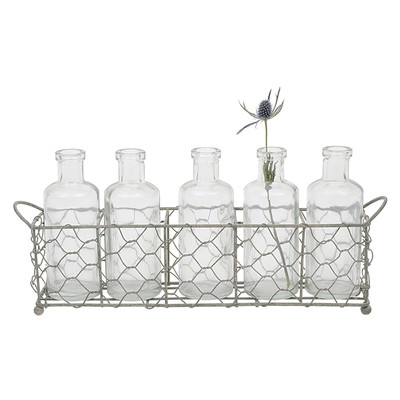 Creative Co-Op Casual Country 6-Piece Glass Bottle Vase Set