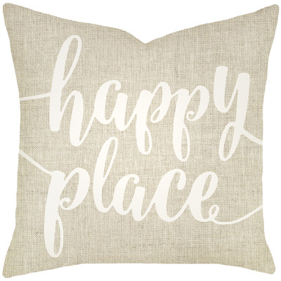 Mercury Row Bolte Happy Place Typography Cotton Throw Pillow