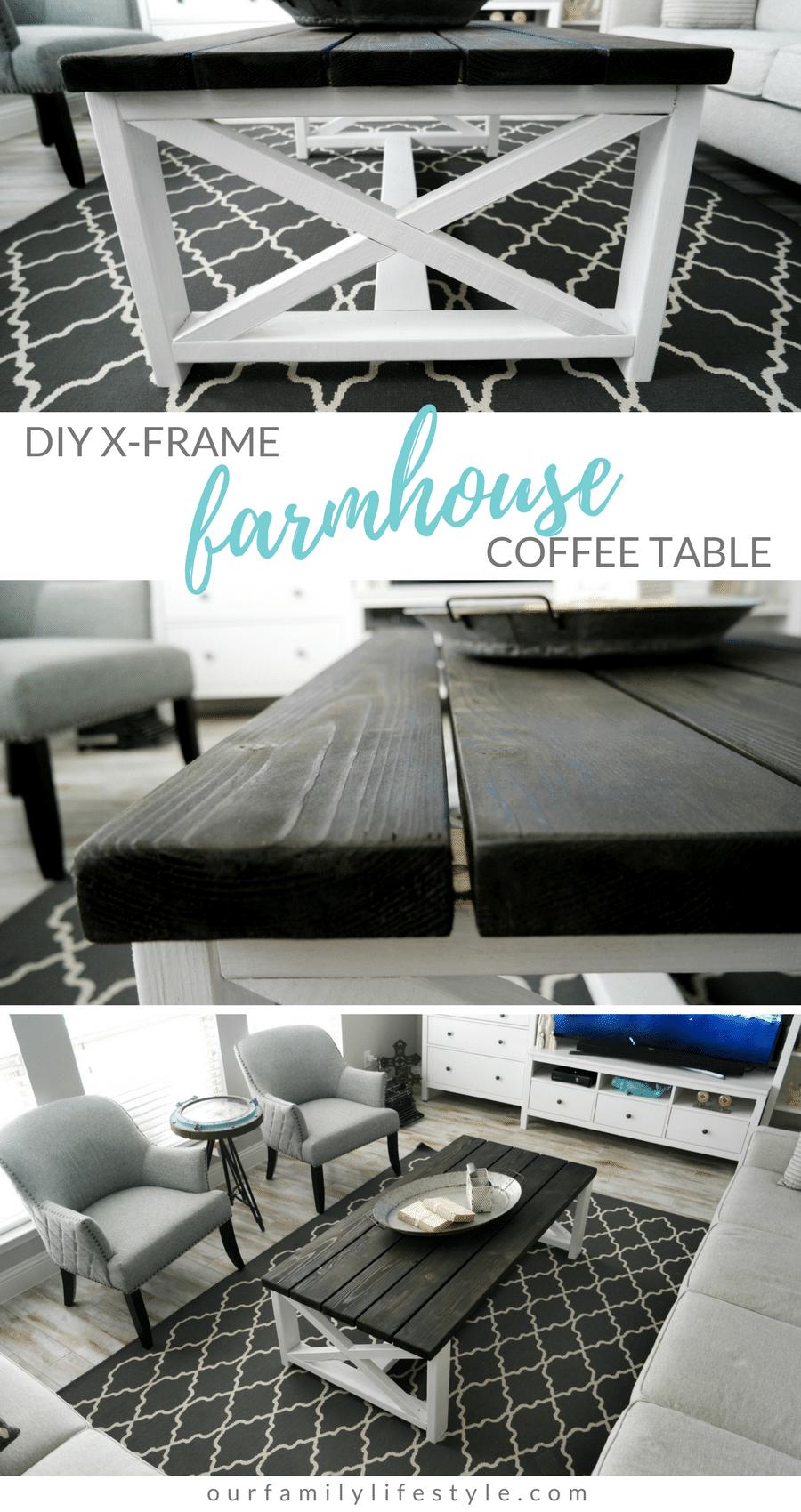 DIY X-Frame Farmhouse Coffee Table For Under $90