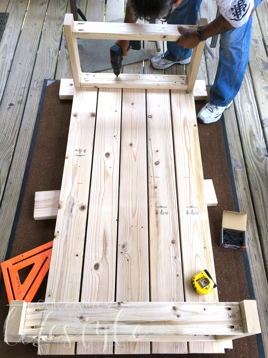 DIY coffee table construction