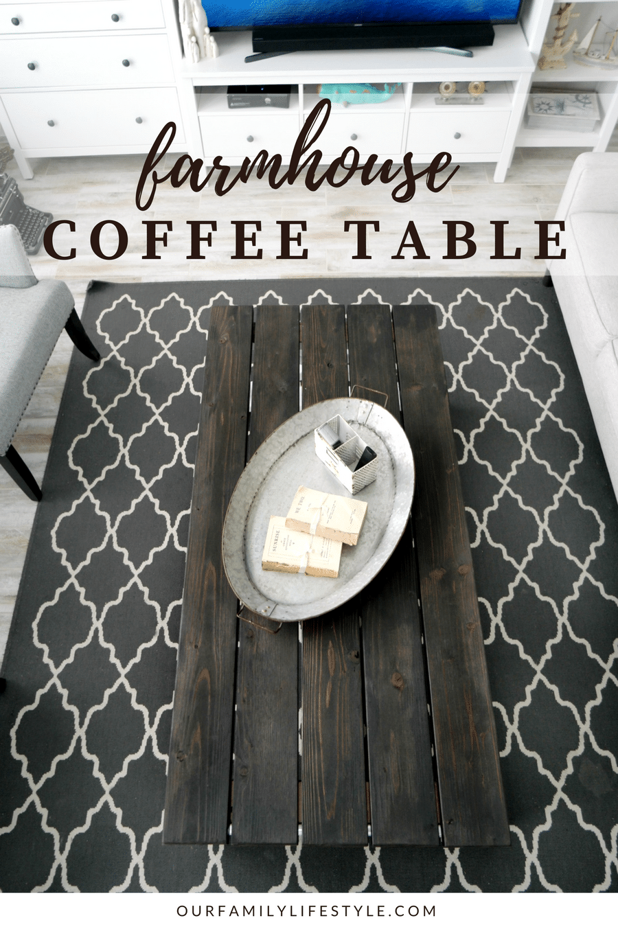 DIY X-Frame Farmhouse Coffee Table For Under $90