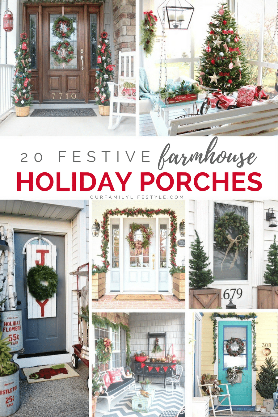 20 Festive Farmhouse Holiday Porches