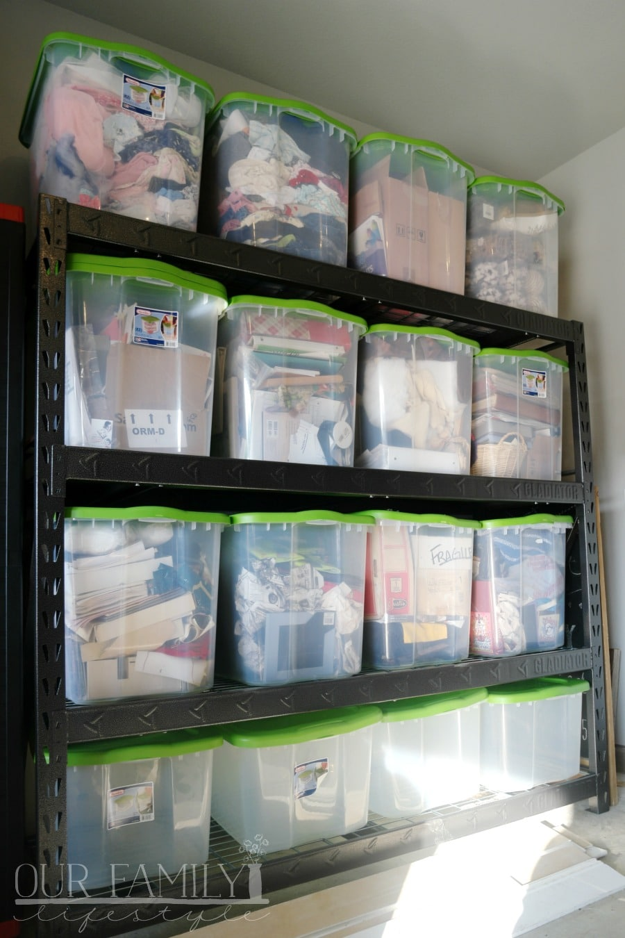 Clear Storage Bins on durable shelving